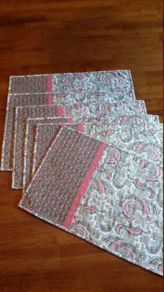 Handmade Quilted Neutral Placemats Set of 6 Tan Cream by djwquilts
