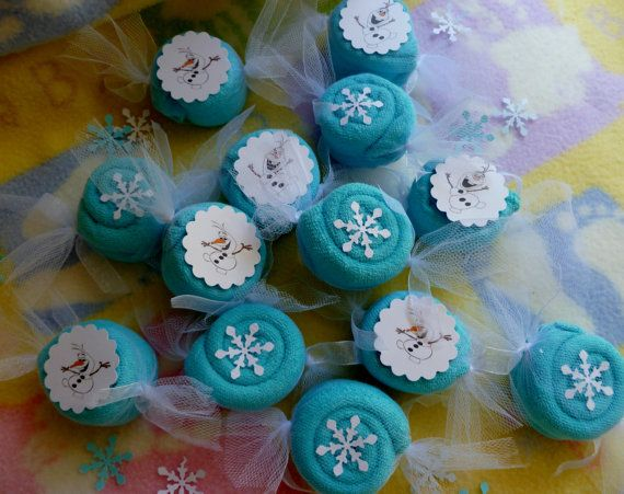 Frozen Theme Party Favors..Washcloth Candies by mollbelldesigns