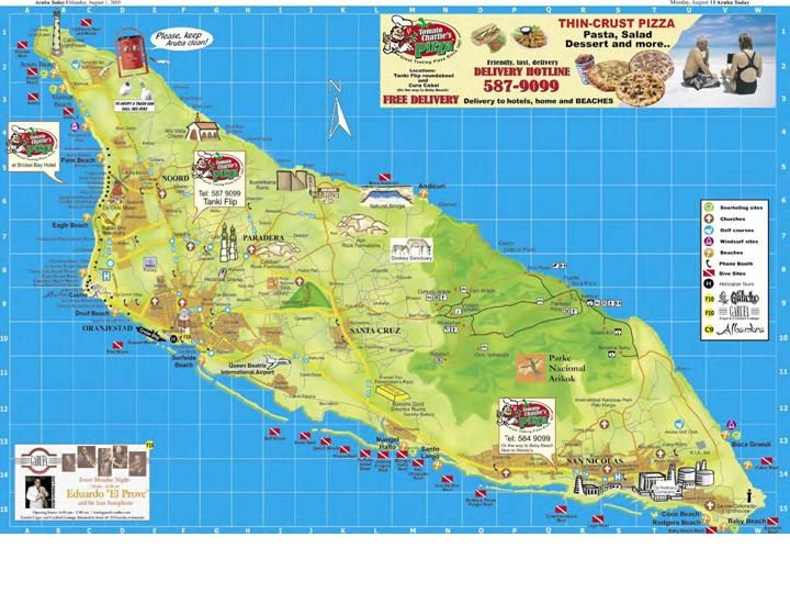Tourist map of Aruba. Aruba tourist map.  We are going to need this!!  Come on Spring!!!   LaVonne
