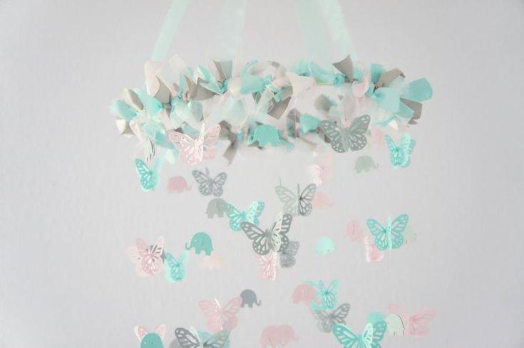 Aqua Nursery Decor- Elephants & Butterflies