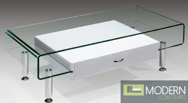 The Imogen Bent Glass Coffee Table With Floating White Drawer. $520  #glasstable #moderntable