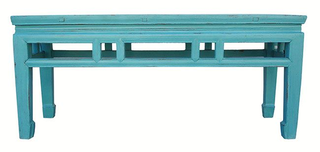 Solid Elm Turqoise/Blue Asian Bench on Chairish.com