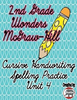 Do your students need extra practice with their cursive handwriting?  Use these practice pages to help your students learn to correctly spell their spelling words while also perfecting their cursive writing skills!  These spelling sheets are based on the 2nd grade Wonders McGraw-Hill reading series.