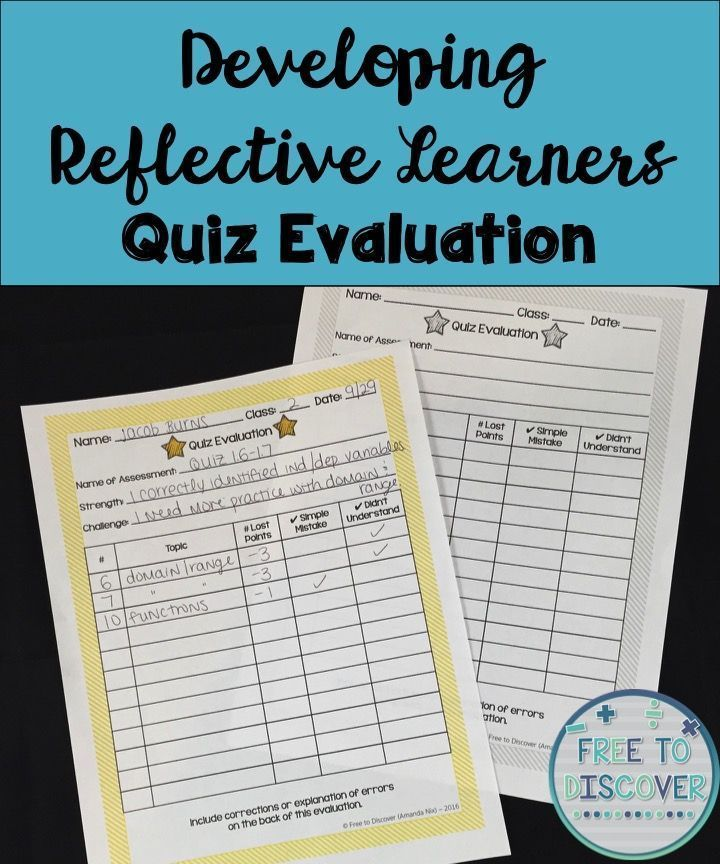 When I first started teaching eighth grade math, I would see students get back their quiz, look at their score, MAYBE flip it over to see where they lost points, then slide it into their folder – perhaps never to look at it again.  I knew I had to do something to help my students learn to be more reflective about their progress.   I wanted my students to take ownership of their work and learn from their mistakes.  Read about 3 specific strategies you can use!  Free to Discover
