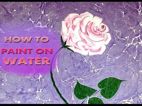 HOW TO PAINT PINK ROSE ON WATER Ebru Sanati Pembe gül - YouTube
