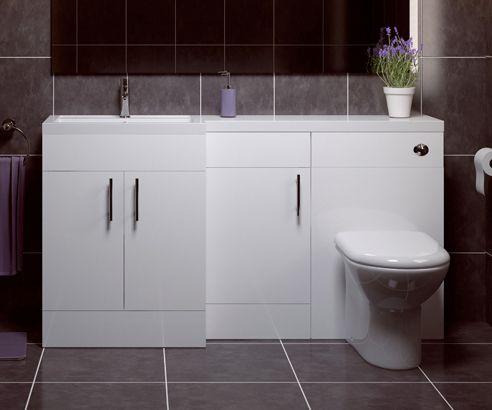 Thorpe White 1500 L Shaped Combination Unit with Sink & Cistern LH - V50181101CU scene square medium