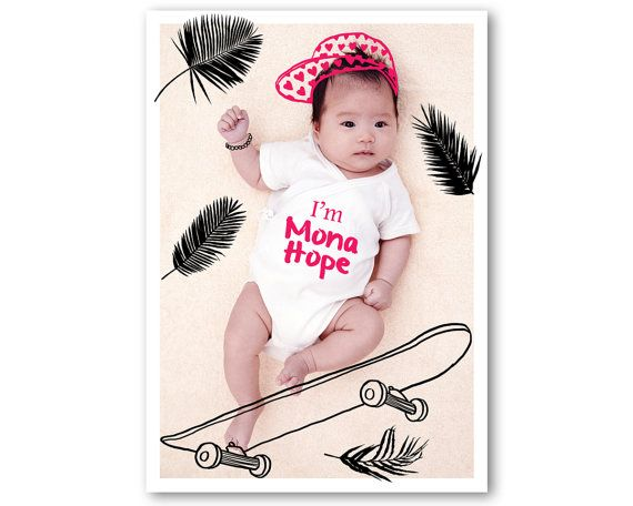 BIRTH ANNOUNCEMENT Digital Drawing on Photo Baby door ToddBorka
