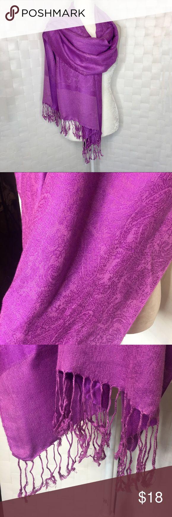 Pashmina Paisley Scarf Deep Lavendar colored paisley print scarf that's 70% Pashmina and 30% Silk. Accessories Scarves & Wraps