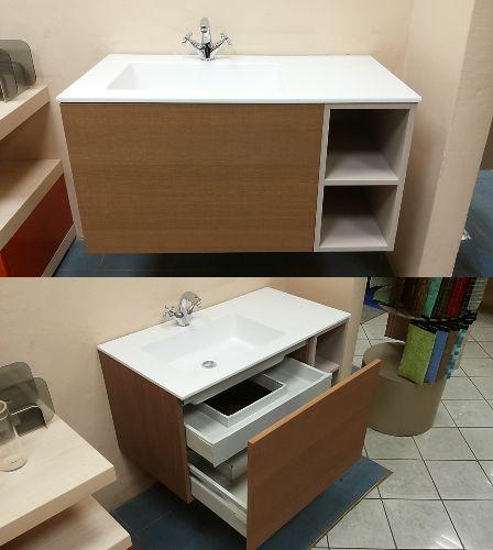 Seghettato Rovere | Mobile + lavabo | Cassetto interno | Colore Tabacco | http://www.magazzinodellapiastrella.it/offerte-bagno-firenze.php #mobilebagno #bagno #arredobagno