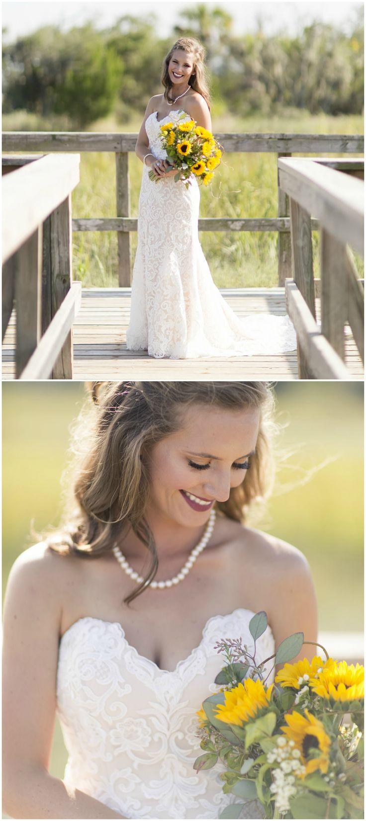 Lace wedding dress, strapless, dip neckline, sunflower bouquet, bridal fashion by Impression Bridal // Laura Watson Photography