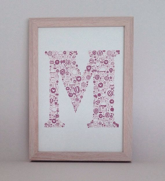 Completely hand drawn hot air balloon patterned letter. Customised letter.