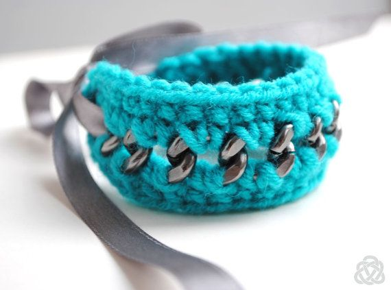 Crocheted Teal Bracelet on Grey Chunky Chain with by elfinadesign