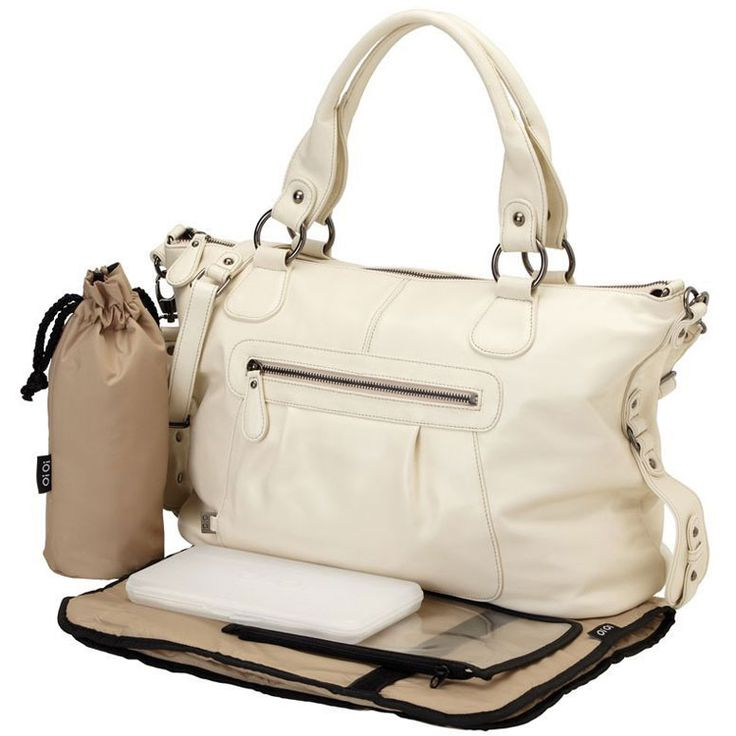 OiOi Ivory Leather Slouch Tote Diaper Bag