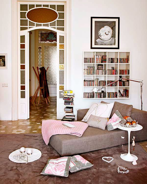 love this concept for a reading nook chaise lounge low chair and arc lamp
