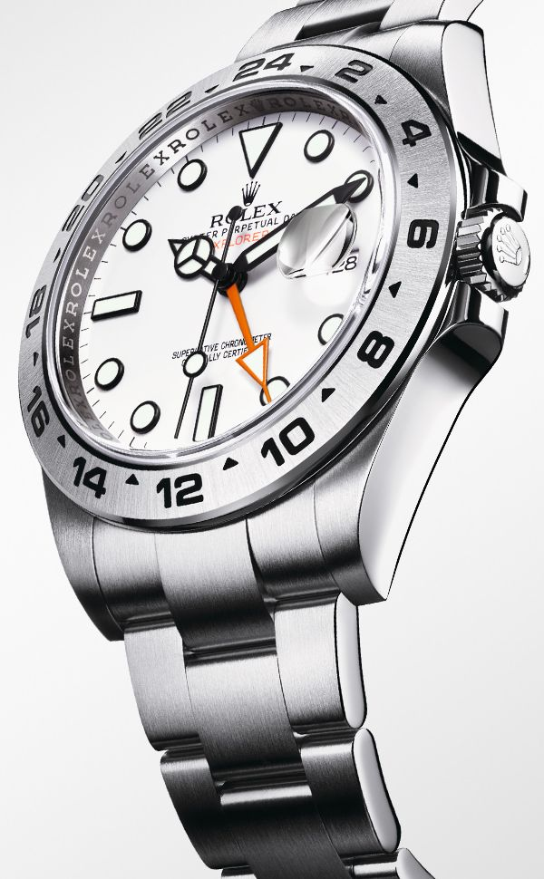 Rolex Oyster Perpetual Explorer II in 904L stainless steel, with a 42mm Oyster case, Oyster bracelet and white dial. The orange hand is part of the additional 24-hour display caracteristic of the model.