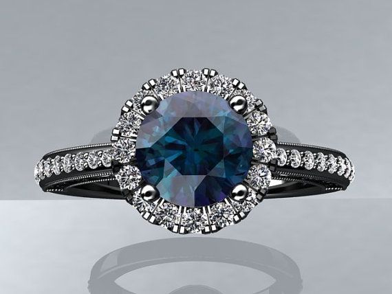 Modern 14k Black Gold and Diamond Engagement by WinterFineJewelry, $1910.00