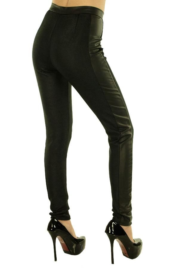 Pantalon Dama Fine Lines  Pantalon dama stil pana. Design indraznet ce poate fi purtat de mai multe tipuri de silueta.  Detalii dungi fine si insertie de latex pe partea lateral-exterior a piciorului.  Se inchide cu fermoar si nasturi, talie inalta cu pense fata-spate.     Compozitie: 96%Poliester, 4%Elasten