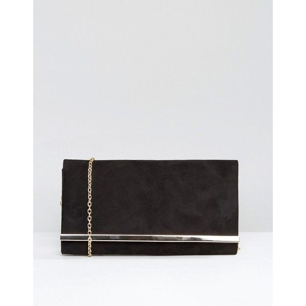 Carvela Dylan Rectangle Envelope Clutch with Metal Bar In Black (225 ILS) ❤ liked on Polyvore featuring bags, handbags, clutches, black, chain purse, envelope clutch, one strap purse, chain handbags and metal purse