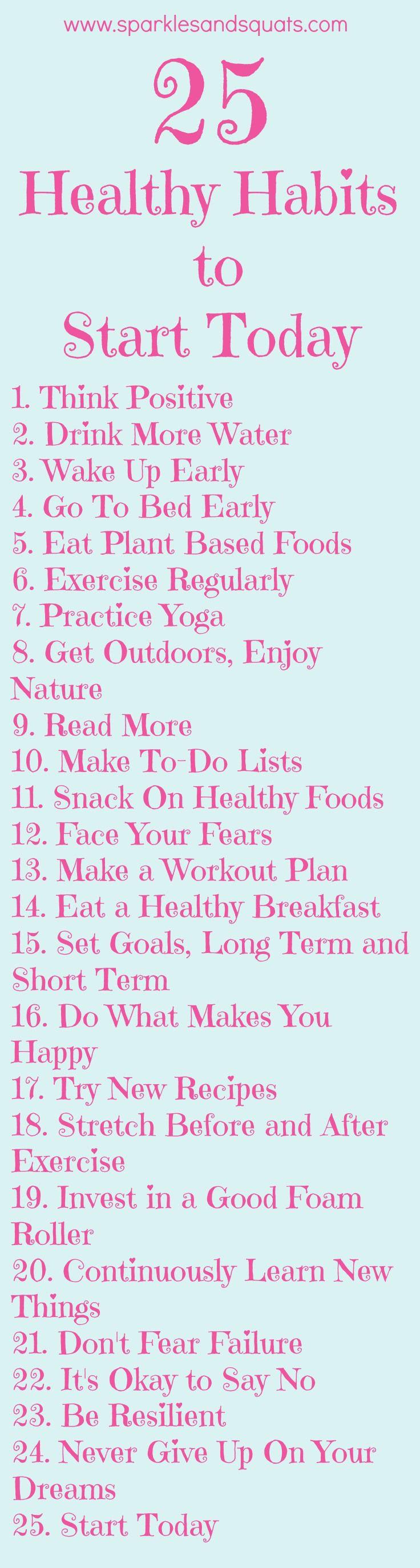 25 hábitos saudáveis para começar hoje