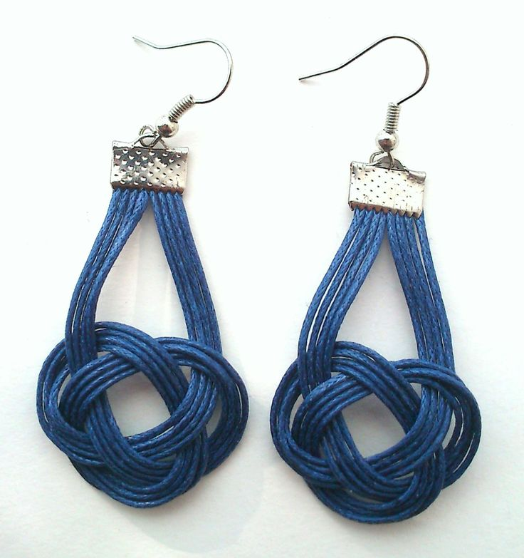 blue macrame earrings with naval knot by KleopatrasCreations on Etsy