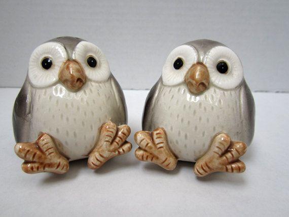Vintage Owl Salt And Pepper Shakers