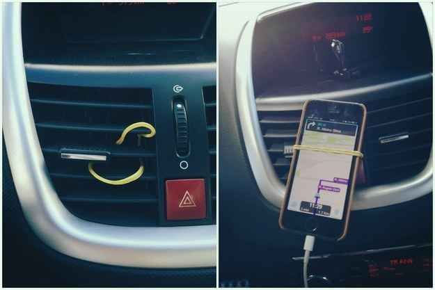 Ok this made me feel stupid. Use a rubber band to mount your cell phone in your car. | 25 Unexpectedly Genius Household Hacks You'll Wish You'd Thought Of First