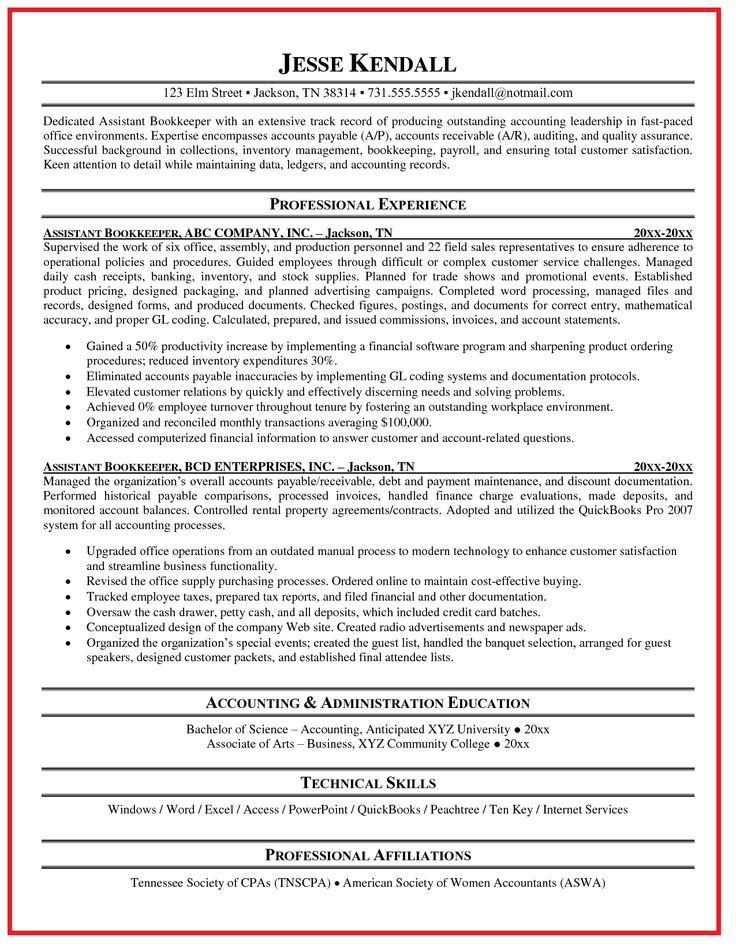 Bookkeeper Resume Template Ideas - http://www.jobresume.website/bookkeeper-resume-template-ideas/