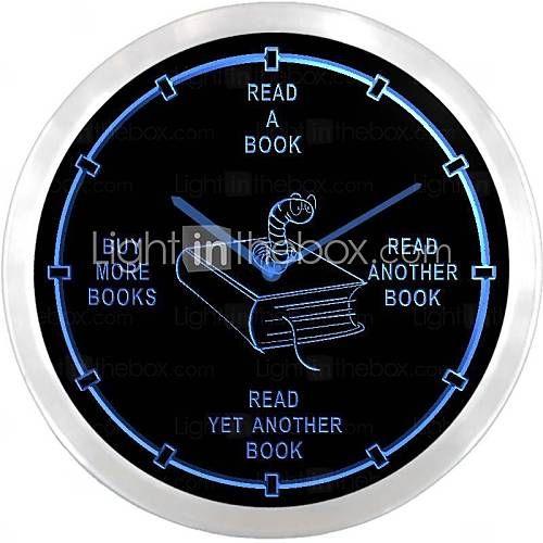 nc0912 Avid Reader Book Worm Romaner neonskilt LED Væg Ur - DKK kr. 354