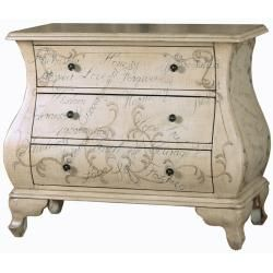 Hand-painted Distressed Antique Ivory Bombay Chest | Overstock.com Shopping - The Best Deals on Coffee, Sofa & End Tables