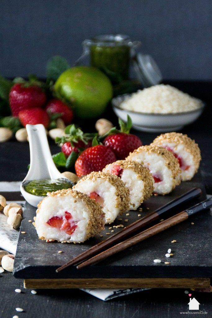 House No. 15 | Milchreis-Erdbeere-Sushi mit Pistazien-Minz-Pesto | http://houseno15.de
