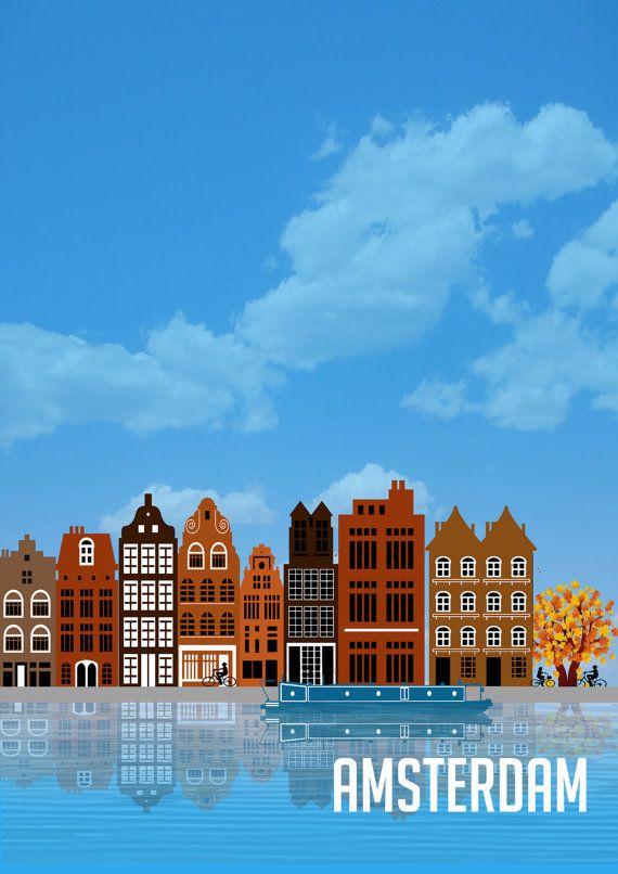 A3-Druck von ikonischen Amsterdam Gebäuden und Kanalboot Matte Oberfläche