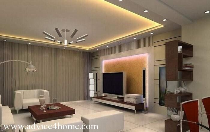 modern white-gray false ceiling design in living room