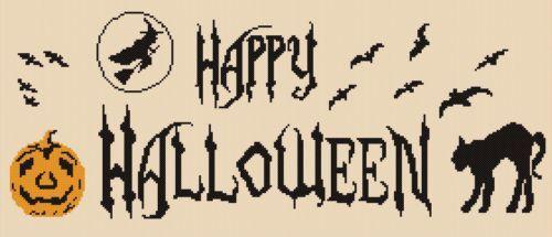 Happy-Halloween-motto-sampler-counted-cross-stitch-chart-pumpkin-black-cat-witch