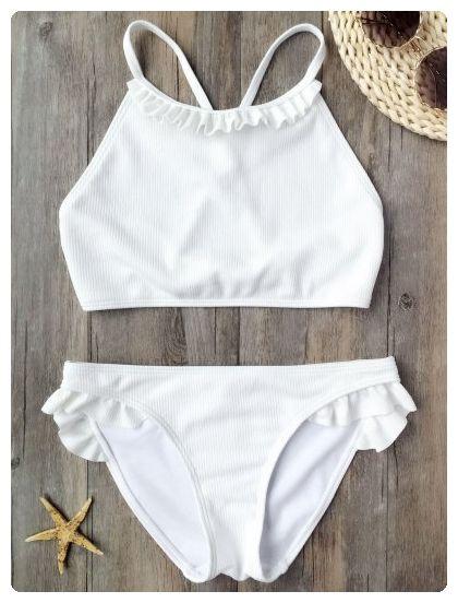 c62cd52727b34 Rib Textured Bralette Ruffles Bikini (White)