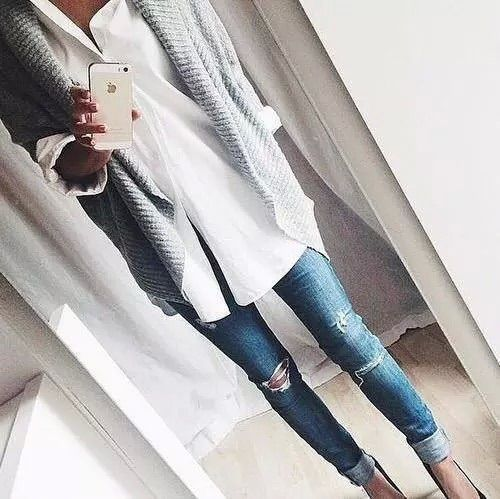 Love this look! Distressed Jean, white blouse and open grey cardigan/somewhat oversized open sweater
