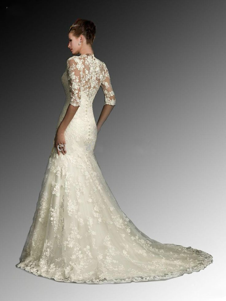 DAW3321  Sexy White Dresses V Neck Half Sleeve Mermaid Lace Tulle Bolero Winter Wedding Dresses