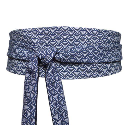 Ceinture obi a nouer bleu reversible, tissu japonais   haute couture, nuit  fonce ecru blanc, vagues asiatique, large, kimono corset 5977ddf0ebd
