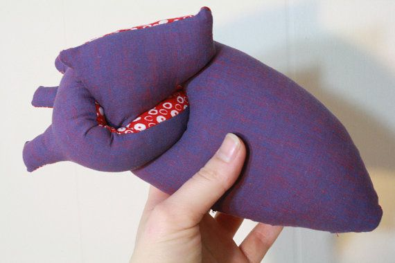 Anatomically correctish plush heart  in purple by TallysBestiary, $16.00
