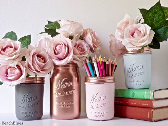 Dorm Decor Pink Copper Gold Mint Cream Painted by BeachBlues