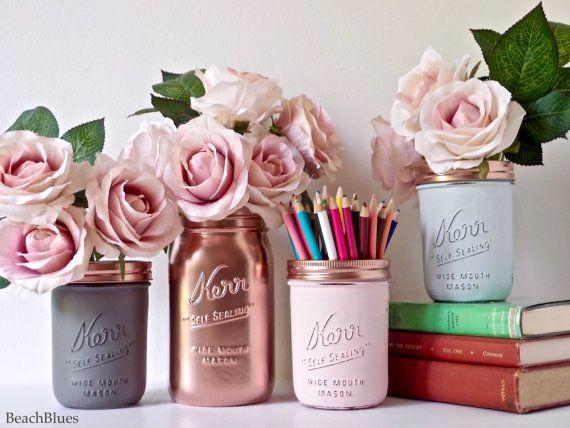 Blush Dorm Decor  Pink Copper Gold Mint Cream  Painted mason