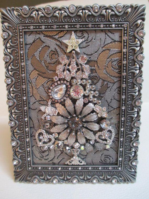 Miniature Jeweled Framed Christmas Tree Gray Satin by audreymivey