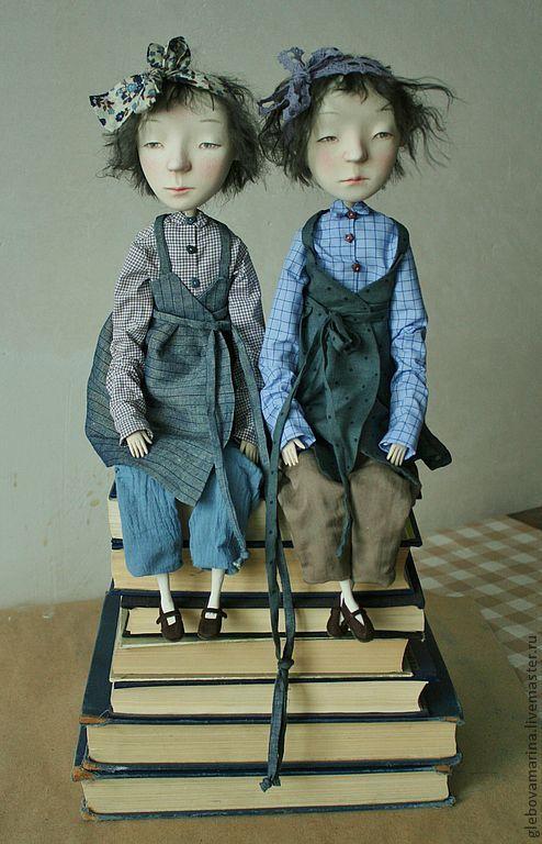 Купить Близнецы - синий, близнецы, девочки, грусть, меланхолия, серый, Паперклей, тресс, ткани хлопок
