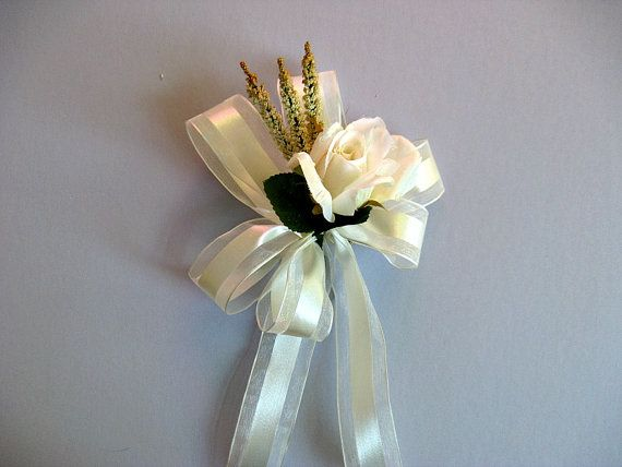 Bridal shower decoration Ivory wedding gift bow by JDsBowCreations