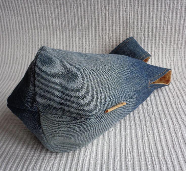 Reversible denim and plaid japanese wristlet clutch mini bag