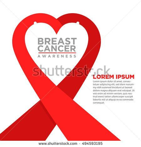 Breast Cancer Awareness Red  Ribbon. World Breast Cancer Day concept. Vector Illustration. Women healthcare concept