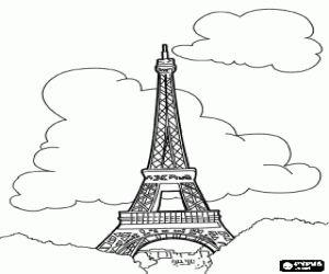Omalovánka Eiffelova věž v Paříži na Champ de Mars na břehu Seiny