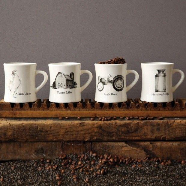 Ceramic Mug With Farm Pictures, Set of 4