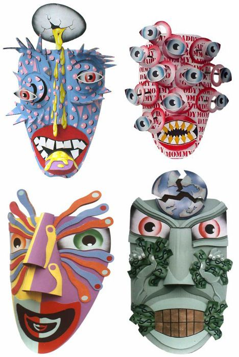 "Dag Weiser Cardboard mask.  The site has ""5 Amazing Cardboard Artists and Their Sculptures"" - really awesome! (SS)"
