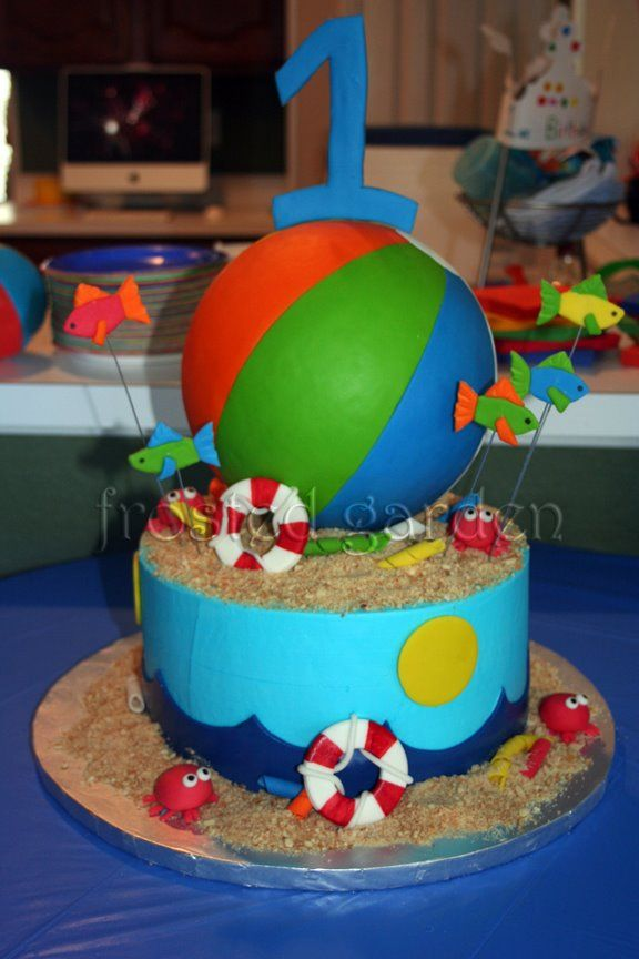 Beach ball cake -  For all your cake decorating supplies, please visit craftcompany.co.uk