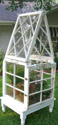 Make a Greenhouse from old windows. DIY Craft Projects using Old Vintage